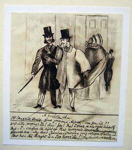 HUMOUR-VICTORIAN-THE-PLEBIAN-UMBRELLA-ENGLISH-SCHOOL-INK-C1850