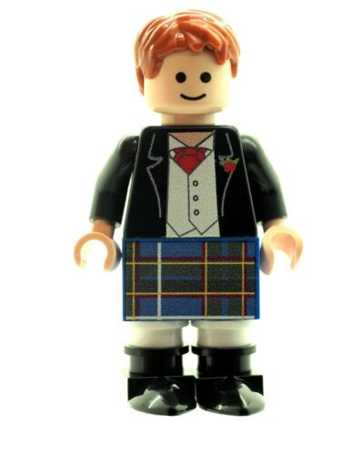 Custom Designed Minifigure - Scottish Groom in Blue Kilt Printed on LEGO Parts