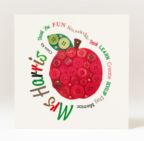 Handmade Personalised Thank you for Being My Teacher Button Style Apple Card