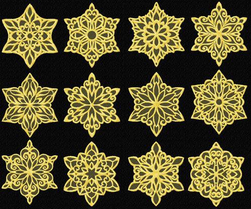 "Snowflakes #4 10 Machine Embroidery Designs set 4/""x4/"""