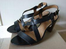 32bf36f5011 Clarks Jaelyn Fog Black Leather Strappy Heels Dress Sandals Women s Size 11