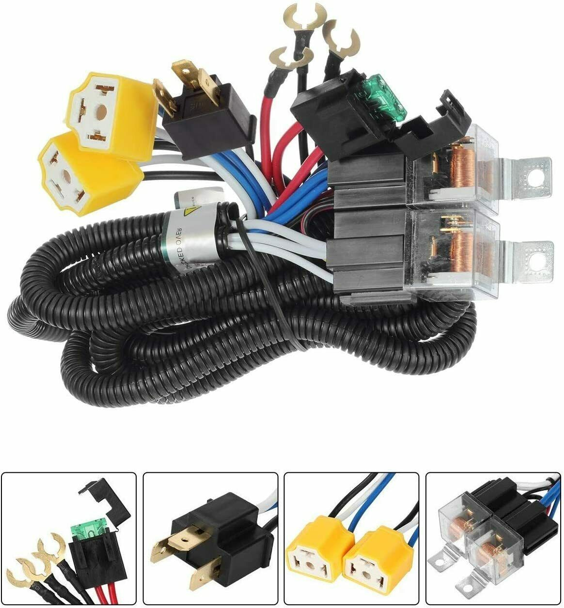 Compatible with Jeep Wrangler YJ truck,Jeep Cherokee XJ truck,Toyota pickup H6054 H5054 H6054LL 6014 6052 6053 LED Headlights Wiring Harness H4 9003 Headlight Relay Wiring Harness Kit