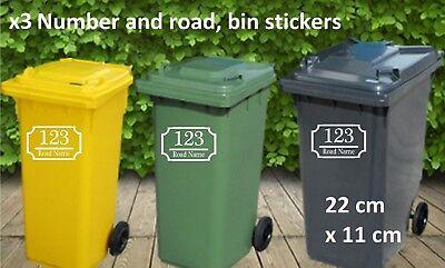 number and street name vinyl wall art decal x3 wheelie bin stickers inc