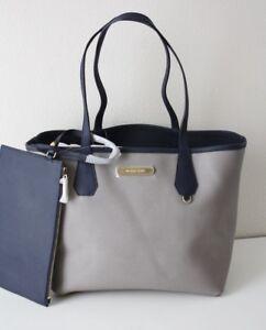 08407edf52e0 Michael Kors Bag Shopper Candy Lg Reversible Tote Bag Grey/Navy with ...
