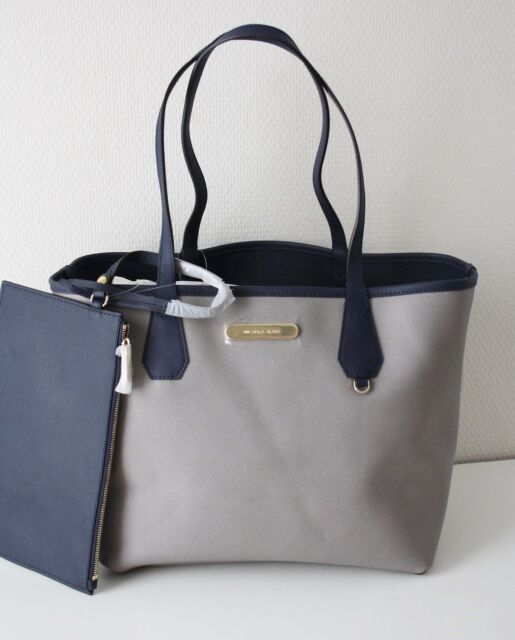 1de48b78a7 Michael Kors Bag Shopper Candy Lg Reversible Tote Bag Grey/Navy with Clutch