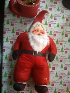 Vintage-Santa-Stuffed-Doll-with-Rubber-Face-Christmas-1940-s-50-s-22-034-tall