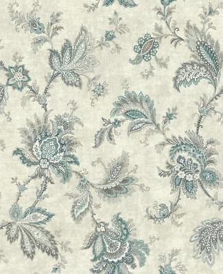 Wallpaper Classic Jacobean Floral in Coral Greens and Tan on Pearlized Cream