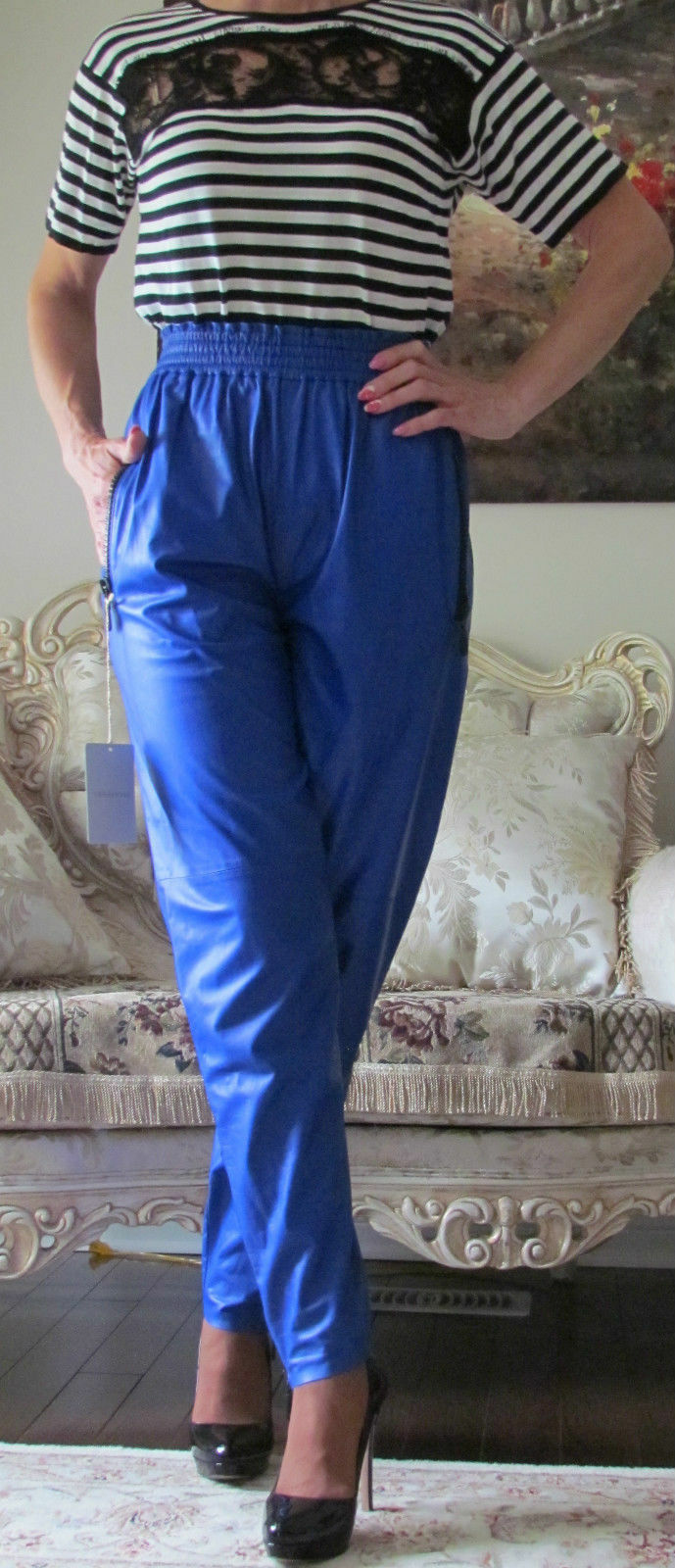 Rare EMILIO PUCCI Runway Calfskin Leather dress-y pants IT 40,US 4-6,S-M