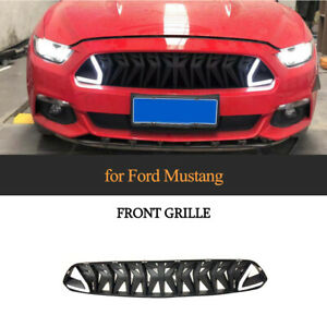 ABS Front Grill Kühlergrill Weiß LED Licht für Ford Mustang Coupe Cabrio 15-17