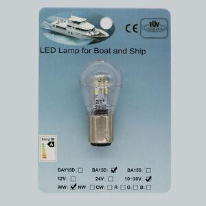 BAY15d 10-30VDC Hella Marine Aqua Signal LED Light Bulb 2pcs x WW CW BA15d
