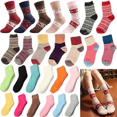 Women Girls Wool Fleece Thick Warm Winter Ladies Short Home Socks Christmas Gift