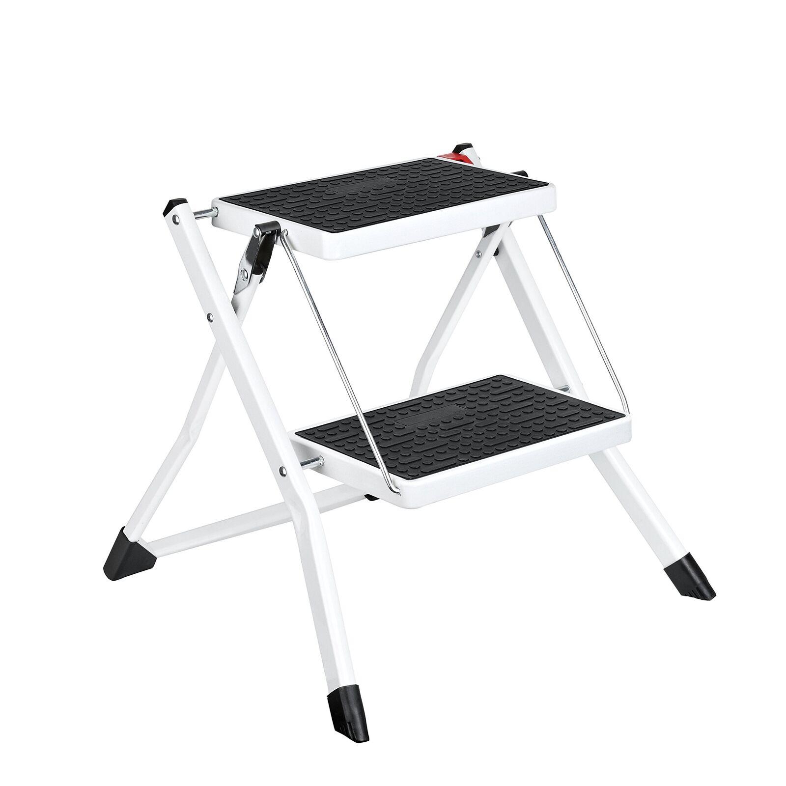 Delxo Step Stool Stepladders Lightweight White Folding Step Ladder with Handgrip