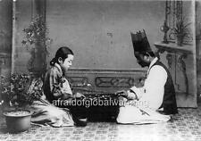 Photo. ca 1914. Korea. Man & Woman Playing Game of Go