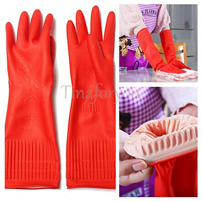 Red Rubber Gloves Latex Kitchen Long Dish Washing Cleaning Protect Hand