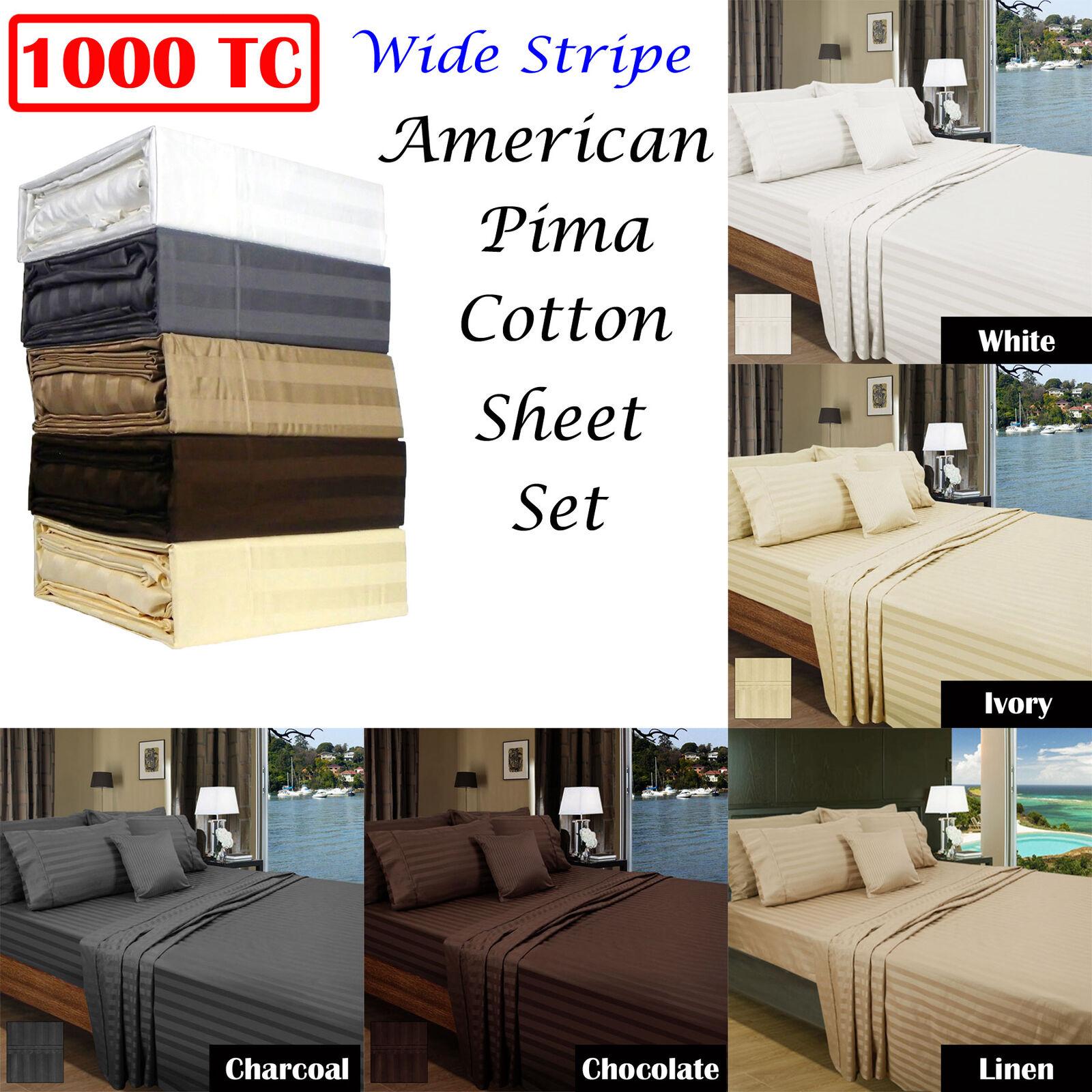 1000TC American Pima Cotton Wide Stripe Sheet Set by Ramesses QUEEN KING