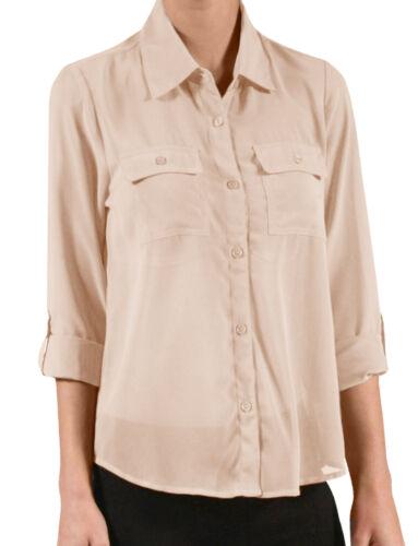 NE PEOPLE Women/'s Light Weight Long Sleeve Georgette Chiffon Blouse NEWT139