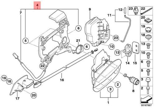 Genuine BMW E85 Roadster Carrier Outside Door Handle Right OEM 51217197316