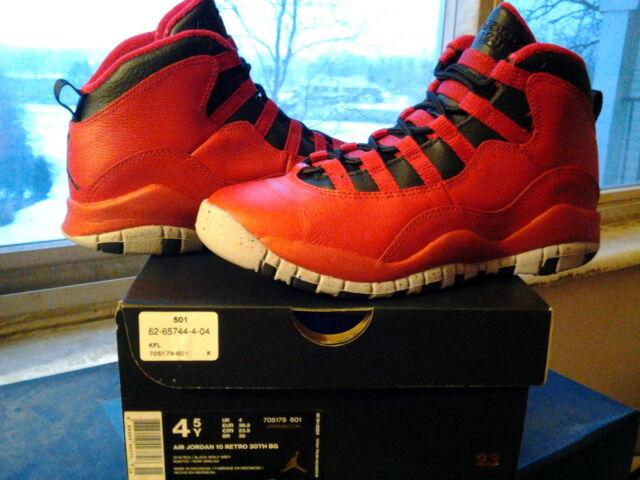 2997c8a802cc Nike Air Jordan X 10 Retro 30th BG GS Bulls Over Broadway Red Grey xi 705179