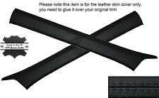 BLACK STITCH 2X A POST PILLAR SKIN COVERS FITS MERCEDES W124 E CLASS 83-95
