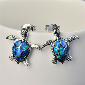 1-Pair-Woman-Fashion-925-Silver-Turtle-Blue-Fire-Opal-Charm-Stud-Earring-NEW