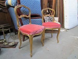 Paire d 39 anciennes petites chaises bois dor style louis xv epoque 1900 ebay - Style chaises anciennes ...