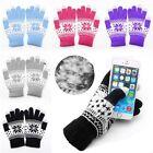 Women/Men Winter Jacquard Touch Screen Soft Fingerless Gloves Mitten Warm Knit