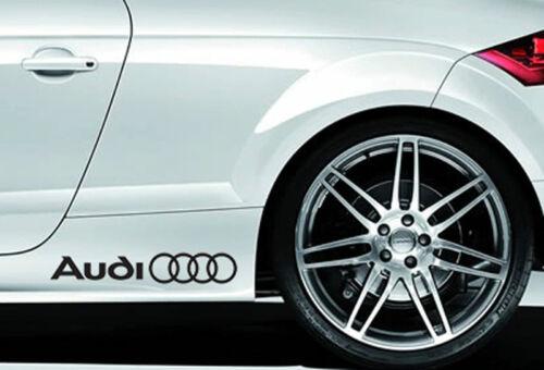 2 x Audi Car Vinyle Stickers Autocollants Rings Side Skirt Graphics décalques logo