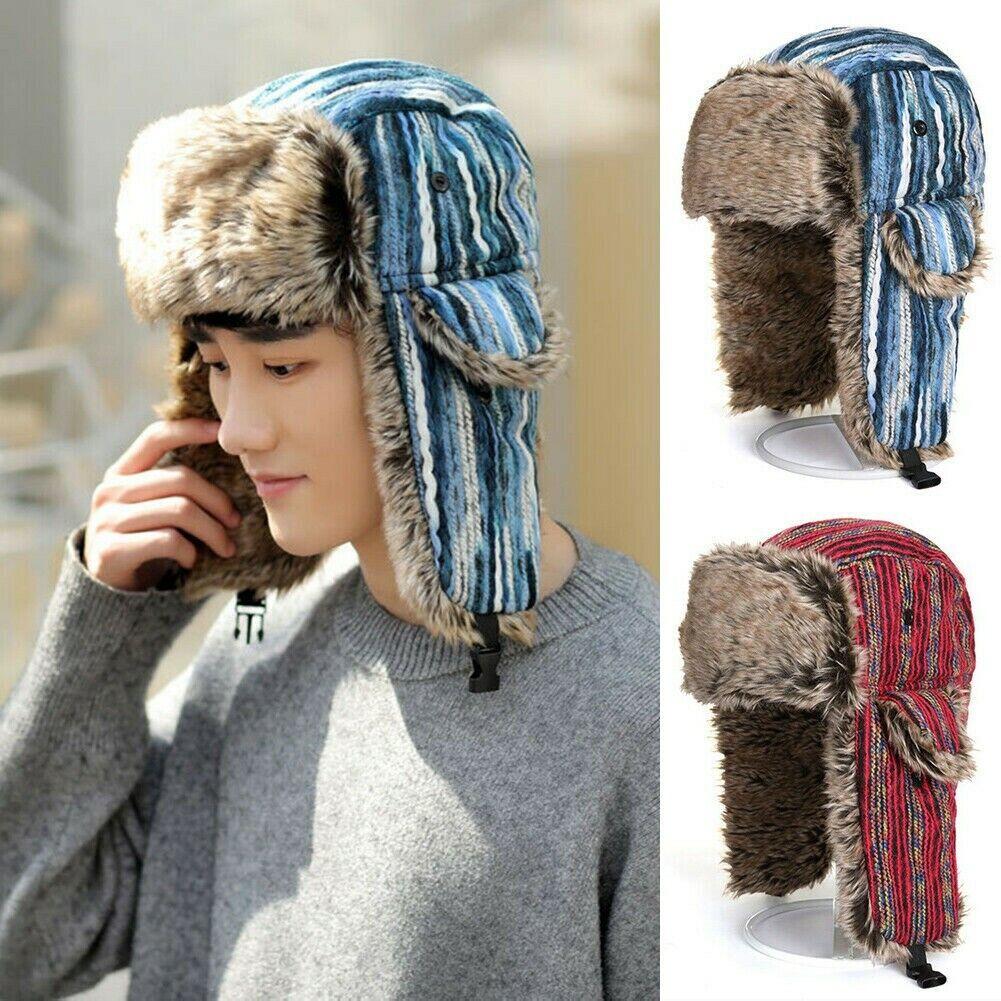 Herren Damen Gypsy Gestreift Trapper Hut Russisch Kosake Ushanka Kappe Kunstpelz