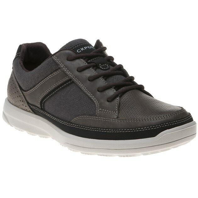 New Mens Rockport Brown Welker Casual Laceup Leather Trainers Lace Up