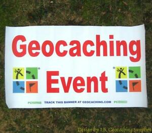 Trackable-Geocaching-Event-Banner-Colour-Logo-with-2-Tracking-Numbers
