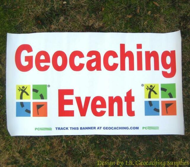 Trackable Geocaching Event Banner - Colour Logo with 2 Tracking Numbers!