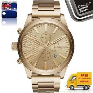 New-Diesel-Mens-Watch-Rasp-Gold-Tone-Stainless-Steel-Chrono-DZ4446-Free-Express