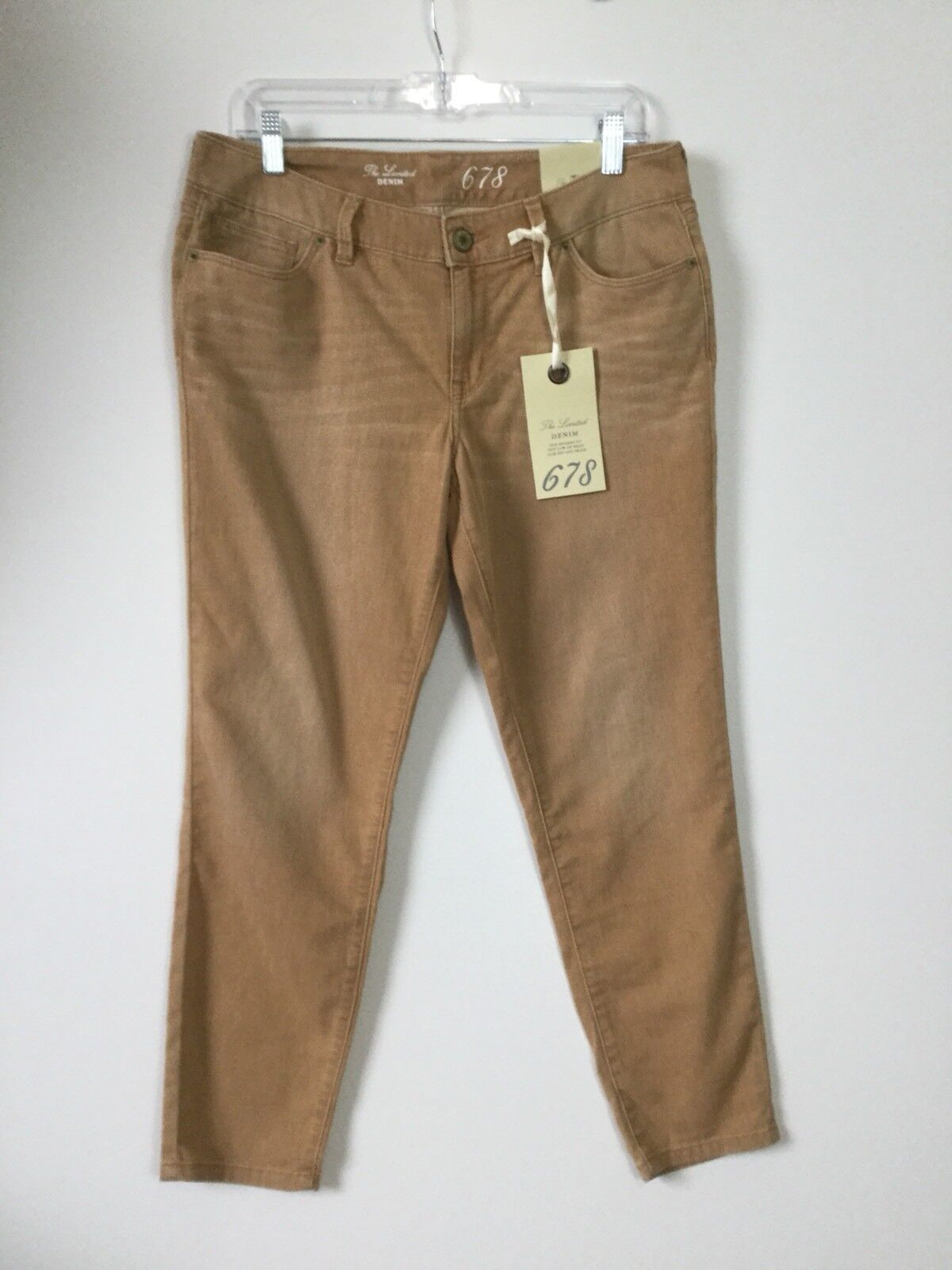 The Limited Denim Jeans Tan Brown Ankle Cotton Stretch Faded Slim 678 Size 12