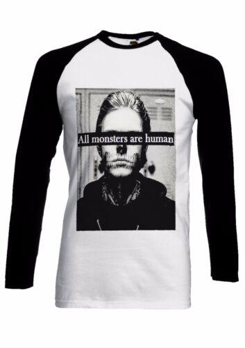 Todos los monstruos son humanos Gracioso Hombre Mujer Largo Mangas Cortas Camiseta De Béisbol 1321
