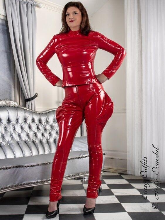 Pantaloni Vernice Rosso Zipper breeches Vernice Vernice Vernice Vinile fatto su misura 1184bb