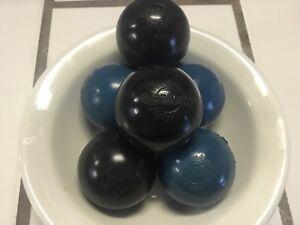 WHAM-O SUPER BALL 1976 [6 each balls & 1 ea. carrier][mix 3black/3blue]