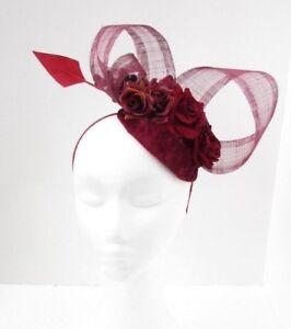 Burgundy Wine Red Rose Flower Feather Hat Fascinator Races Wedding ... 952ca1973ca