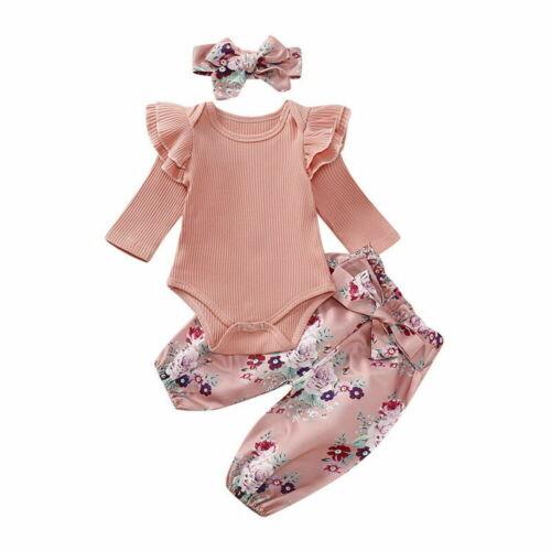 Infant Girls Baby Bodysuit Pant Headband 3Pcs Set Newborn Outfits Toddler Suit