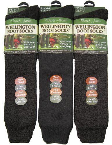 2 Paia Wellington Stivali Calzini David James GOLD EDITION al polpaccio taglia UK 6-11 A Righe