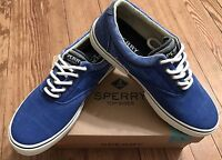 Men's Sperry Top Sider Halyard Cvo Sw Blue Canvas Shoes Memory Foam Sz 8