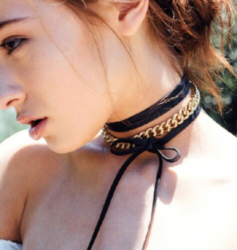 Women Charm Bohemia Black Leather Choker Gold Chain Necklace Jewelry