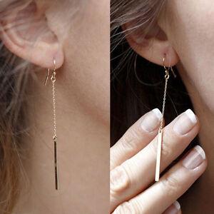 Hot-Women-Alloy-Plated-Long-Dangle-Drop-Chain-Hook-Earrings-Ear-Stud-GolYNFK