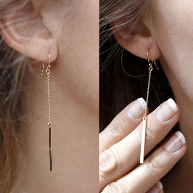 Fashion Women Gold Plated Charm Long Dangle Drop Hook Earrings Ear Stud   EBAU