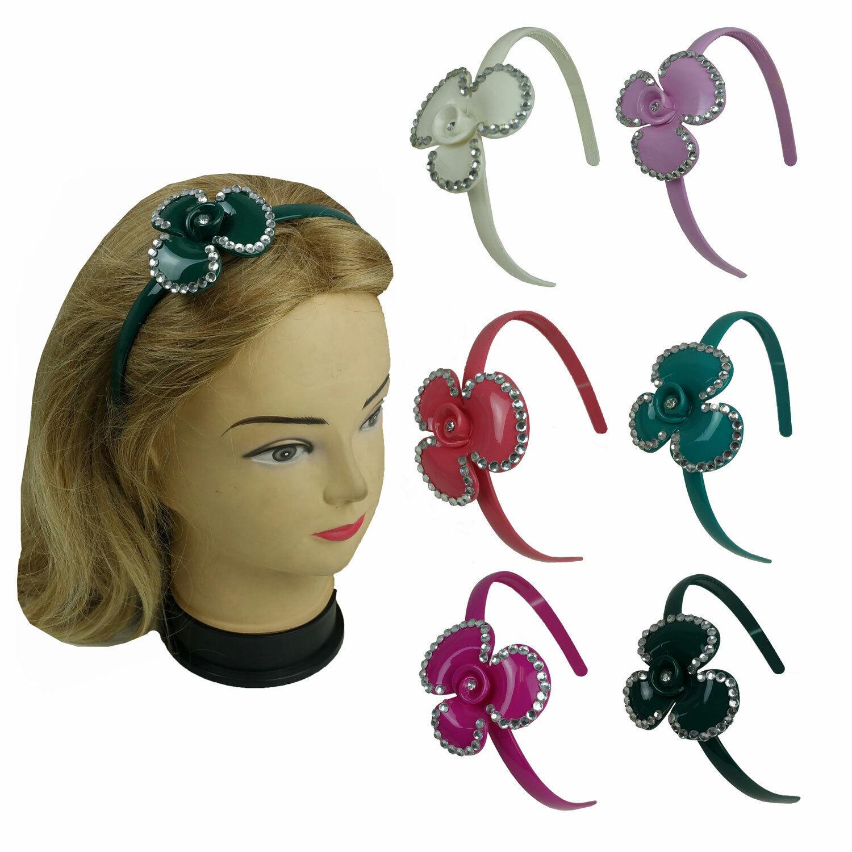 6 Flower Headband w/Crystal Gem Stones with Teeth Underneath Assorted Colors