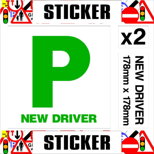 Pair of Self Adhesive P Plates High Quality Premium Grade Vinyl