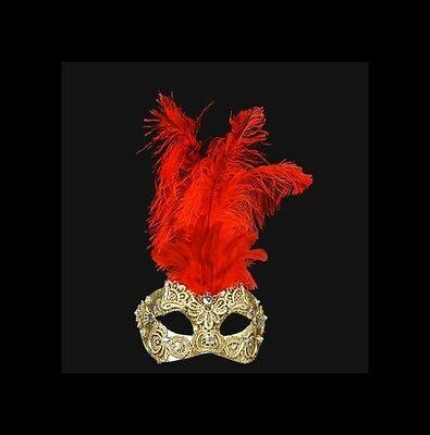 Comprar Barato Máscara De Venecia Macramé Dorado Pluma Avestruz Rojo V34-574