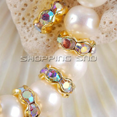 Premium Quality! Czech Crystal Rhinestone Gold Wavy Rondelle Spacer Charm Beads