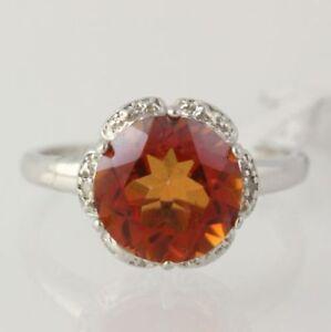 NEW-Azotic-Topaz-amp-Diamond-Halo-Ring-925-Sterling-Silver-Women-039-s-Fine