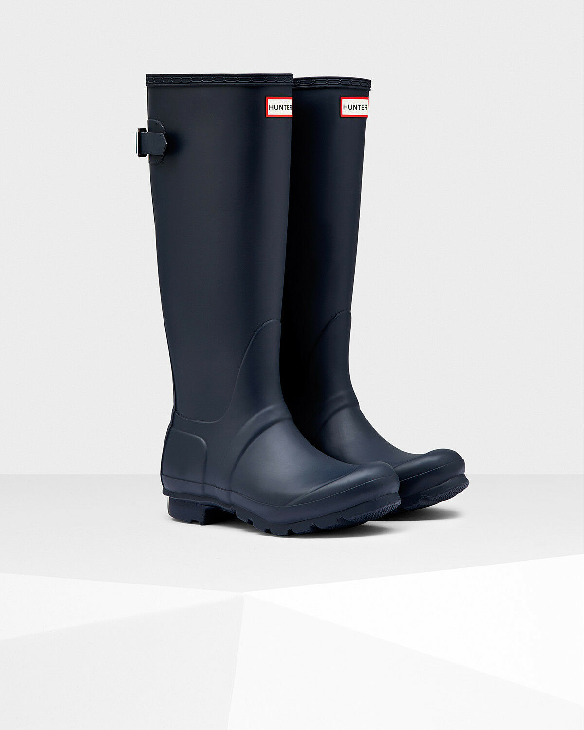 HUNTER ADJUSTABLE BACK NAVY WOMENS RAIN BOOTS