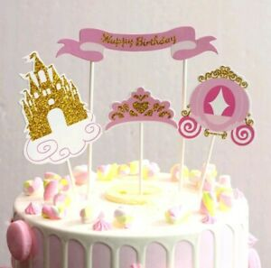 Prime Princess Fairytale Pink Gold Carriage Crown Castle Cake Toppers Funny Birthday Cards Online Inifofree Goldxyz